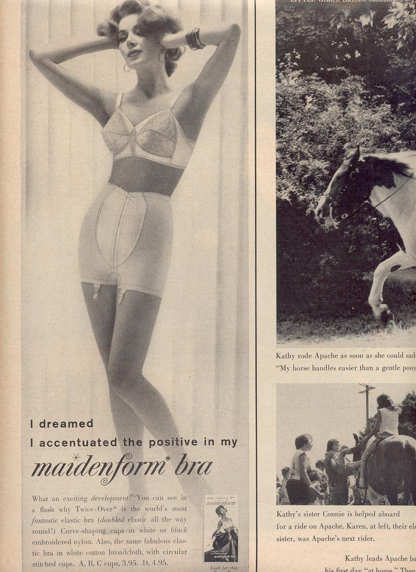 1959 MAIDENFORM BRA & MAIDENFORM GIRDLE DOUBLE PAGE MAGAZINE AD (282)