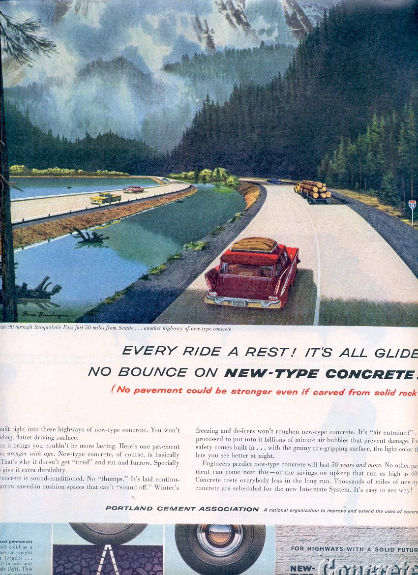 1959 PORTLAND CEMENT ASSOCIATION - NEW TYPE CONCRETE INTERSTATE 90 MAGAZINE AD (290)