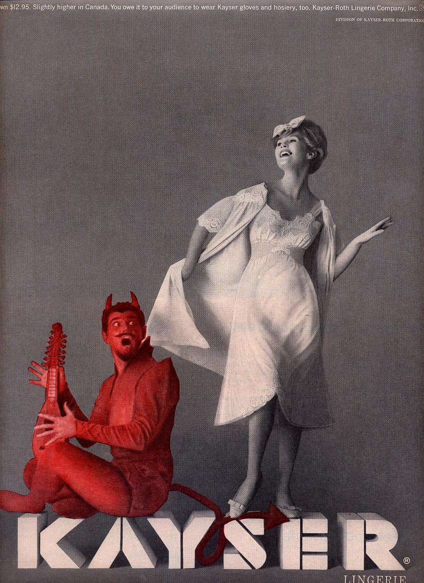 1959 KAYSER LINGERIE - IT'S ALMOST WICKED YOU FEEL SO BEAUTIFUL MAGAZINE AD (293)
