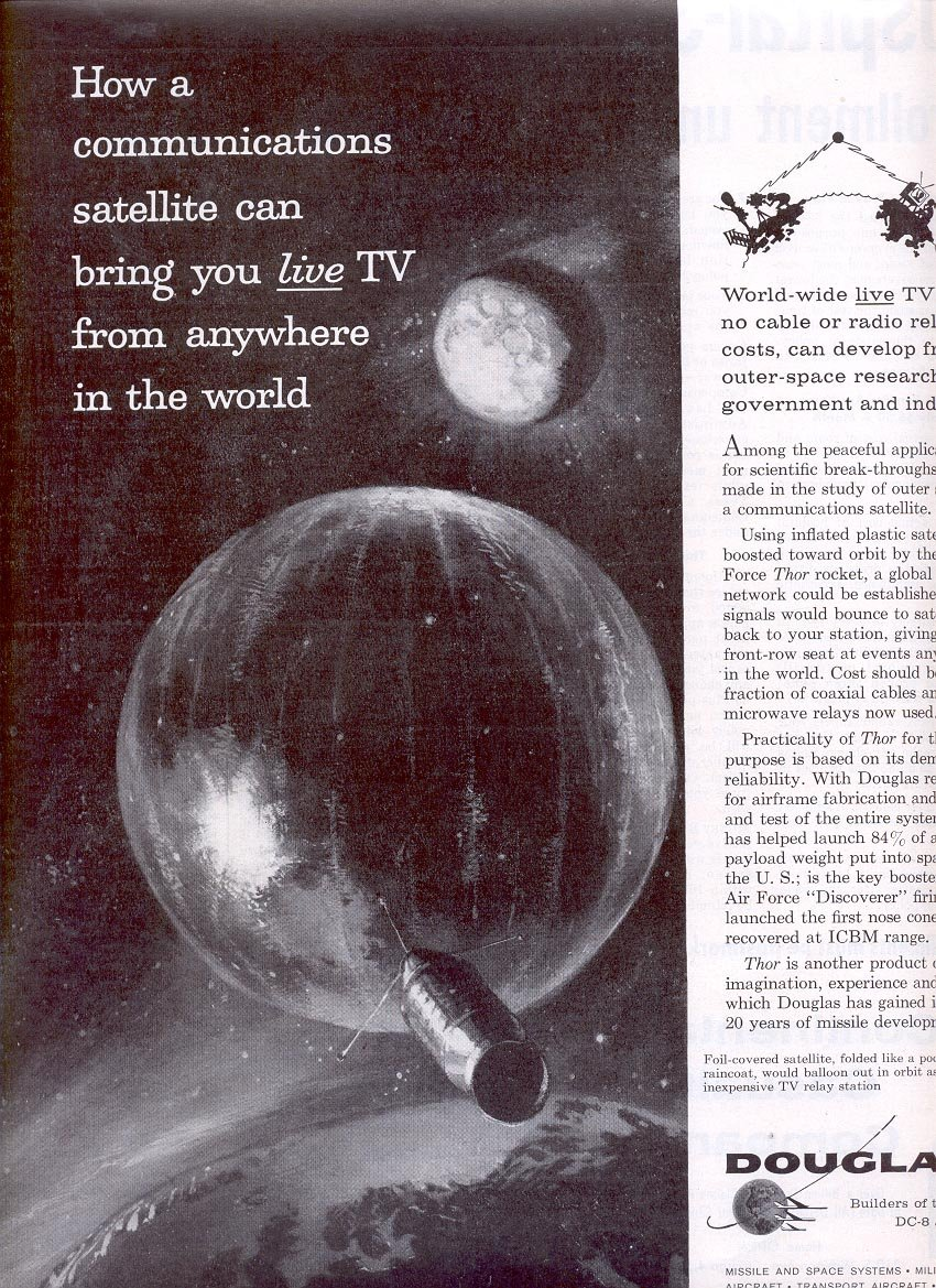 1959 DOUGLAS MISSILE & SPACE SYSTEMS TV SATELLITES MAGAZINE AD (296)