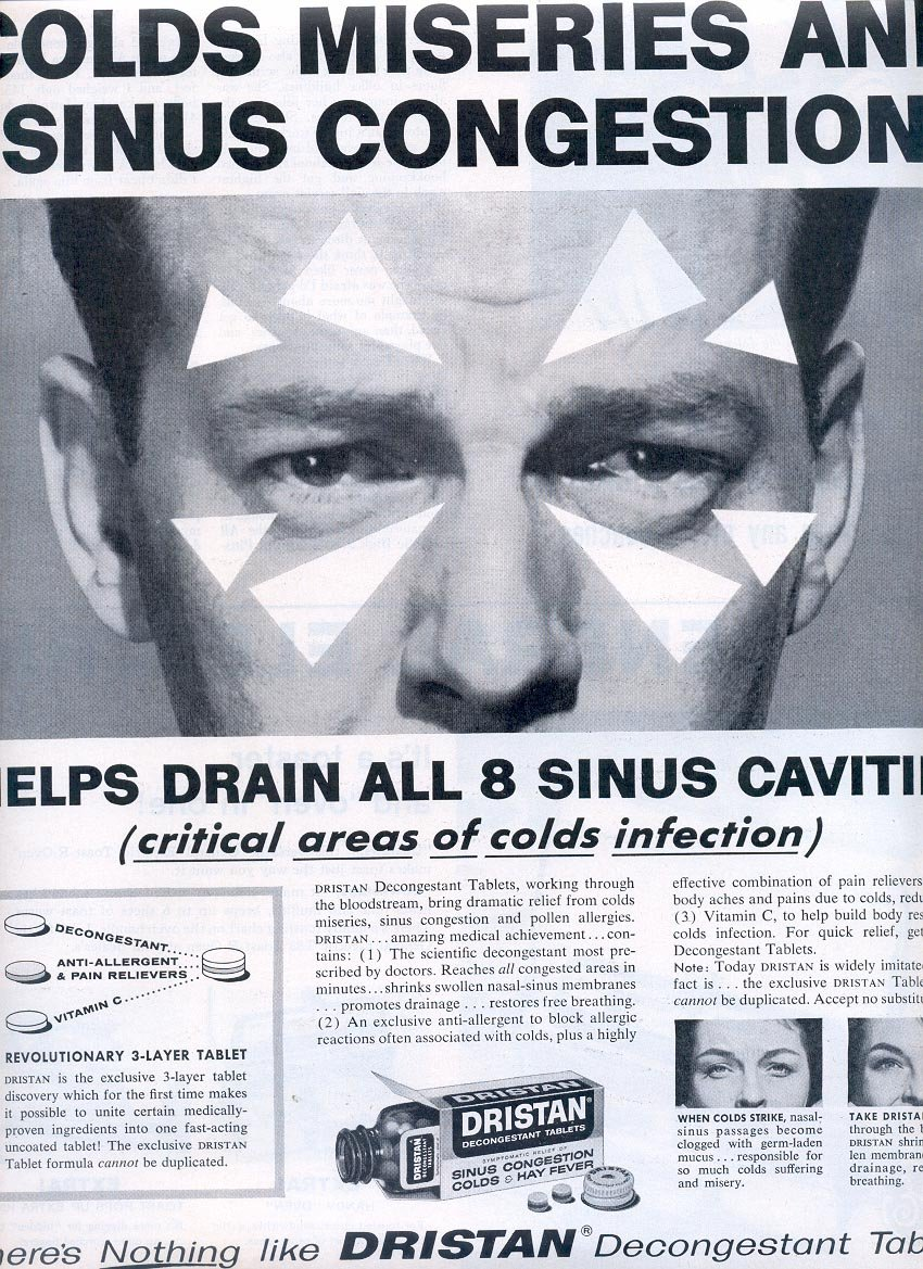 1959 DRISTAN FOR COLDS AND SINUS CONGESTION MAGAZINE AD (298)