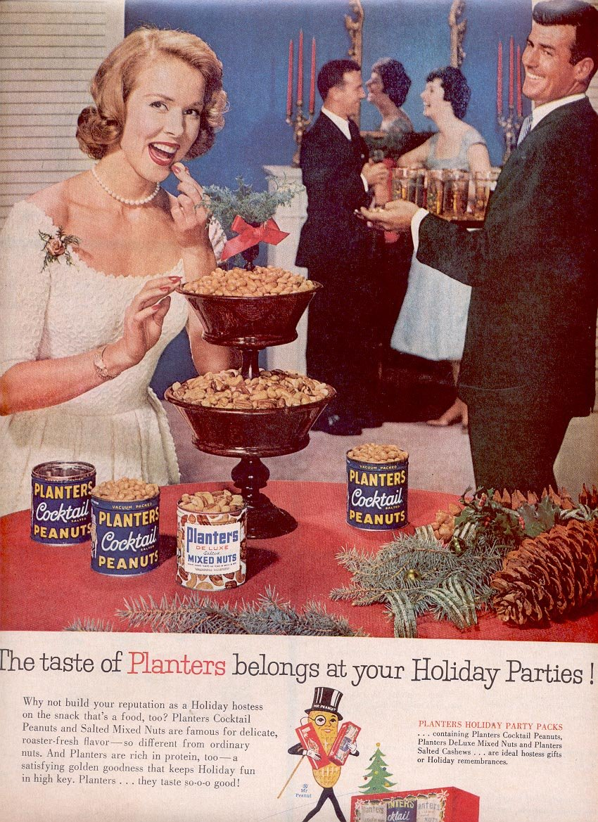 1959 PLANTERS NUTS FOR YOUR HOLIDAY PARTIES MAGAZINE AD (303)