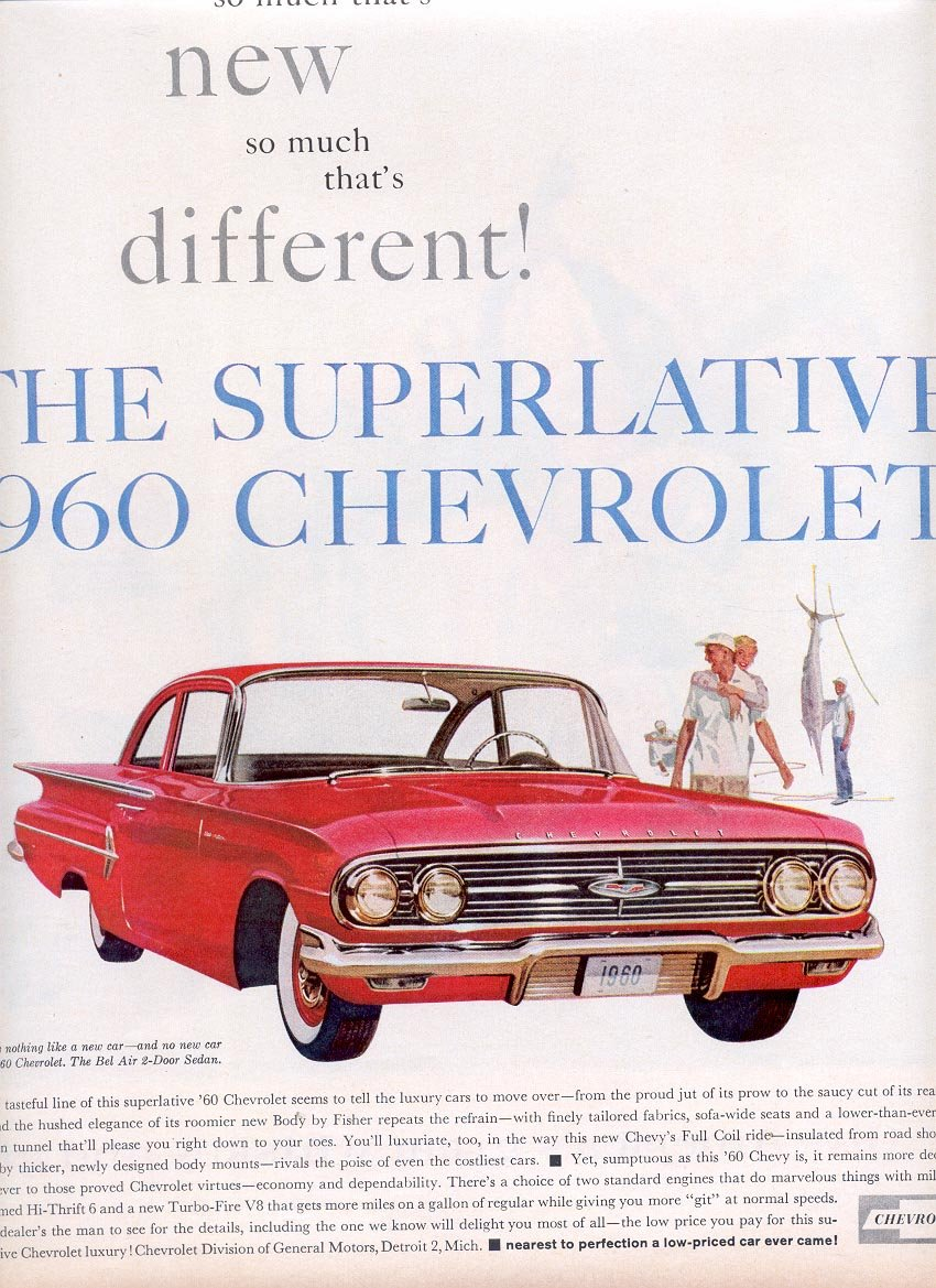 1959 THE SUPERLATIVE 1960 CHEVROLET MAGAZINE AD (309)