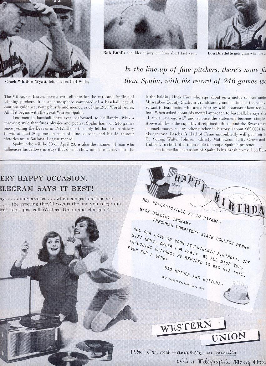1959 WESTERN UNION TELEGRAMS MAGAZINE AD (313)