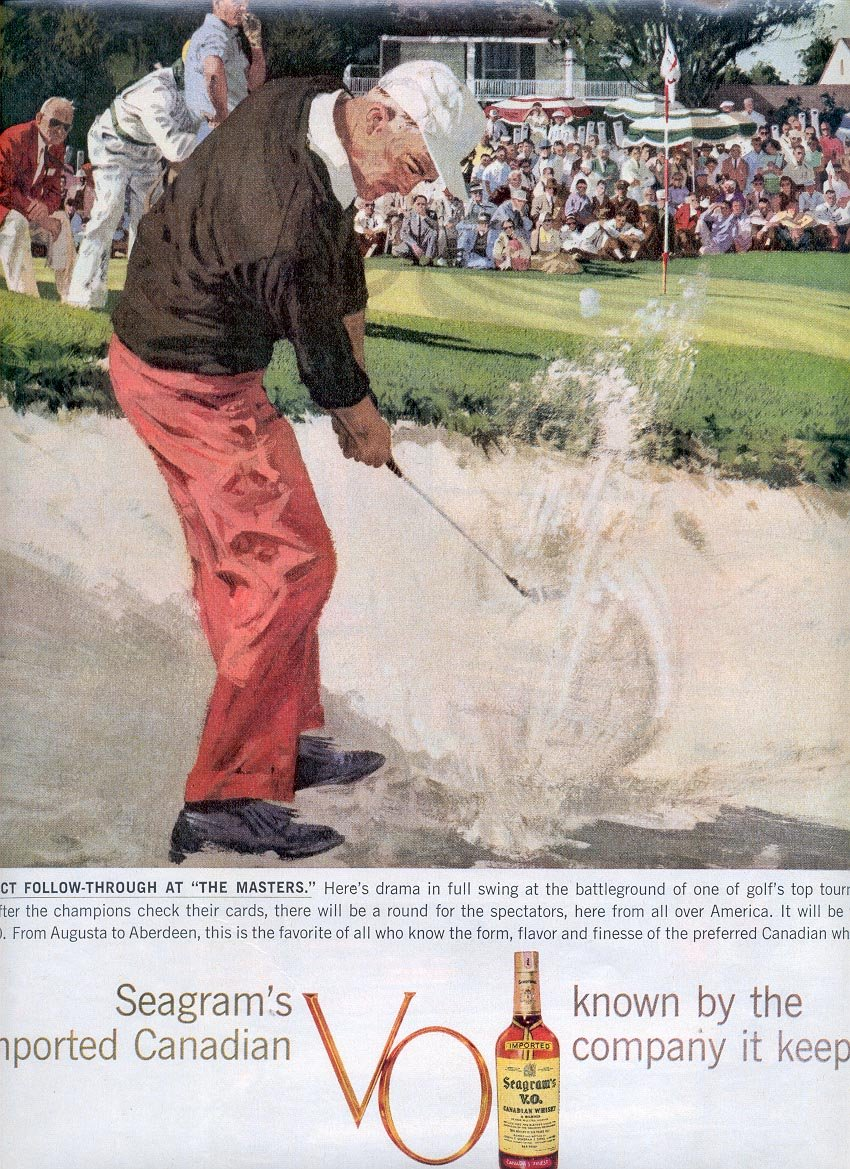 """1959 SEAGRAM'S V.O. CANADIAN WHISKEY AT """"THE MASTERS"""" MAGAZINE AD (318)"""