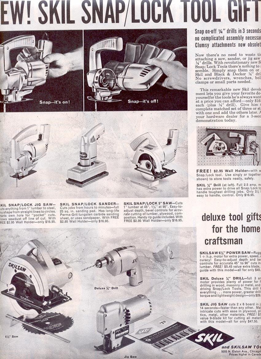 1959 NEW SKIL SNAP & LOCK TOOLS MAGAZINE AD (319)
