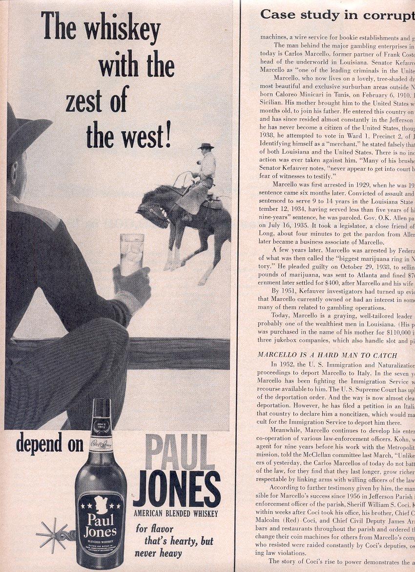1959 PAUL JONES AMERICAN BLENDED WHISKEY MAGAZINE AD (321)