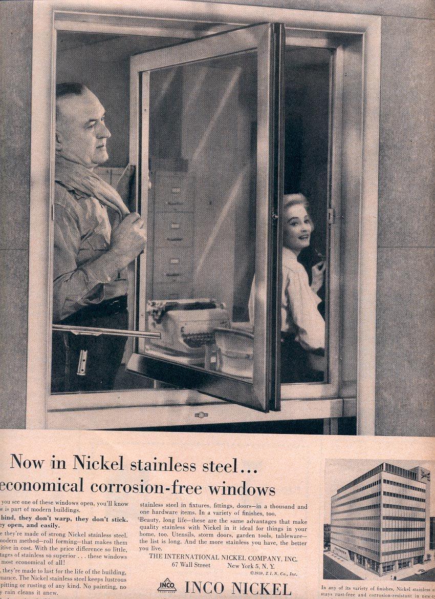 1959 INCO NICKEL STAINLESS STEEL CORROSION FREE WINDOWS MAGAZINE AD (333)