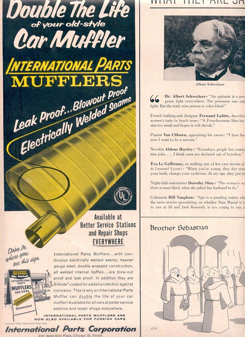 1959 INTERNATIONAL PARTS CAR MUFFLERS MAGAZINE AD (354)