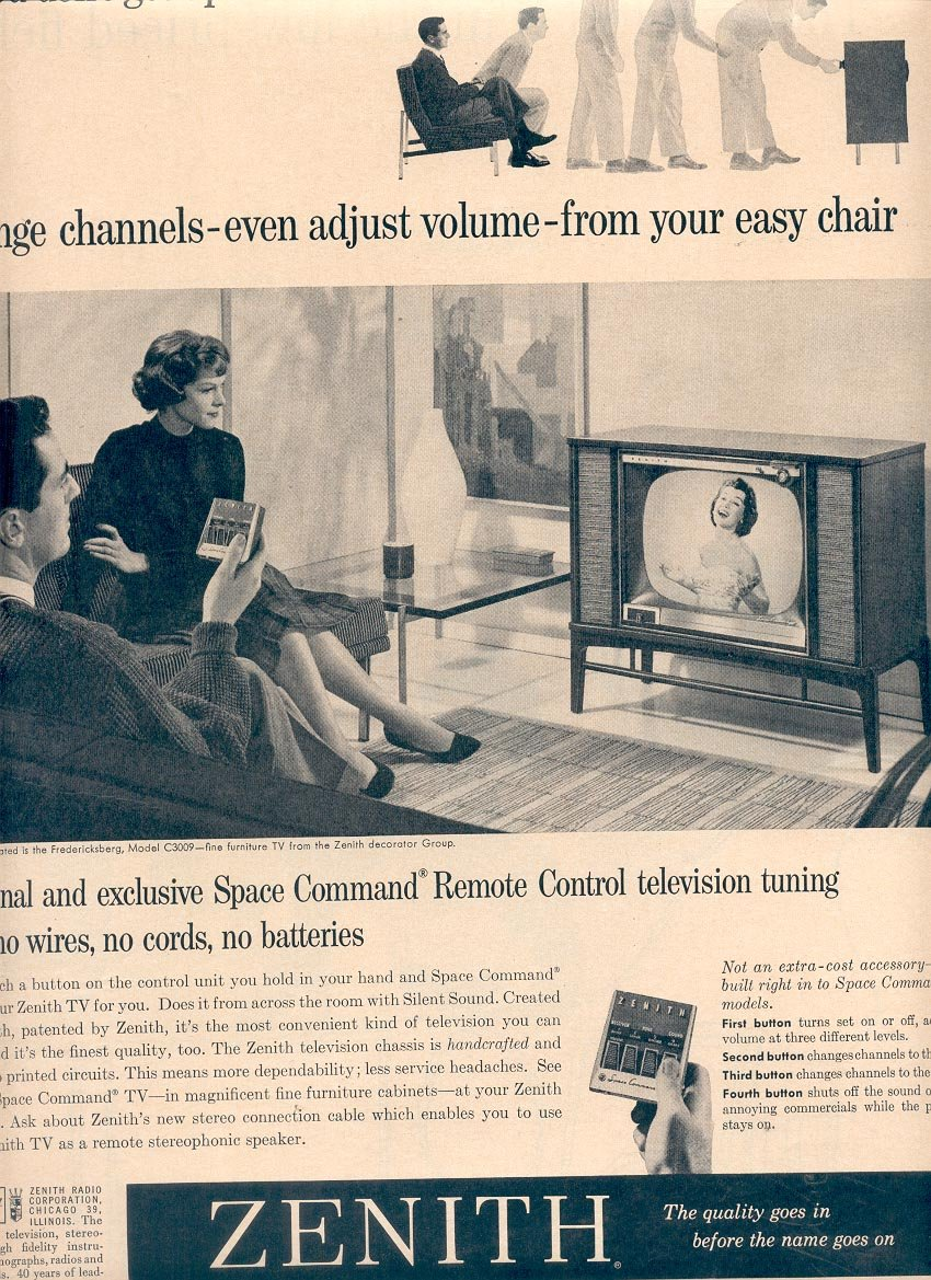 1959 ZENITH TELEVISIONS WITH SPACE COMMAND REMOTE CONTROL MAGAZINE AD (365)