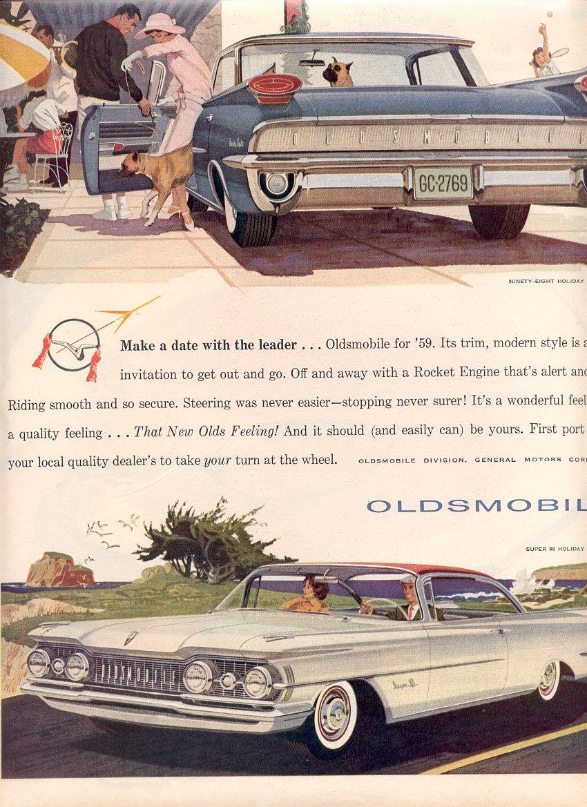 1959 OLDSMOBILE  NINETY-EIGHT HOLIDAY SPORTSEDAN AND SUPER 88 HOLIDAY SCENICOUPE MAGAZINE AD (368)