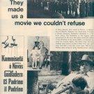 1972 THE GODFATHER WITH MARLON BRANDO MAGAZINE AD (399)