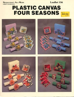 NEEDLECRAFT ALA MODE FOUR SEASONS PLASTIC CANVAS CRAFT LEAFLET 1991 NEAR MINT