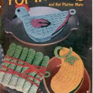 CLARK&#39;S NEW BOOK OF POT HOLDERS #274 CROCHET J. & P. COATS 1ST ED CRAFT BOOKLET 1951 VERY GOOD COND