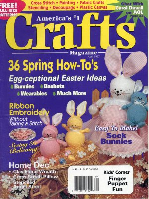 CRAFTS MAGAZINE BACK ISSUE APRIL 1997 WITH FULL SIZE PATTERNS PULL OUTS NEAR MINT