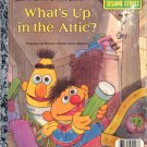A LITTLE GOLDEN BOOK - WHAT'S UP IN THE ATTIC? # 2 SESAME STREET CHILDRENS HB BOOK 1987 GOOD