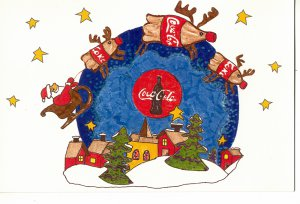 COKE COCA COLA #4 IN SERIES OF 5 - CHRISTMAS COLOR POSTCARD #07 UNUSED 1998 VGOOD TO NMINT