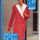 BUTTERICK #4597 SEE & SEW PATTERN - WOMEN'S MISSES DRESS SIZE B 12-16 CUT/USED OUT OF PRINT 1990 VG
