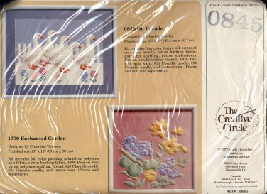 VINTAGE CRAFT KIT ~ THE CREATIVE CIRCLE - 0845 ON PARADE ~ DUCKS - 1986 EMBROIDERY NOS MINT
