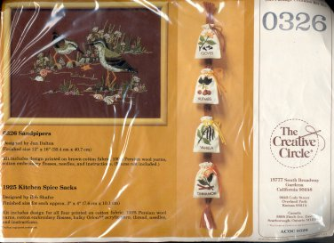 VINTAGE CRAFT KIT ~ THE CREATIVE CIRCLE - 0326 SANDPIPERS ~ 1984 EMBROIDERY NOS MINT