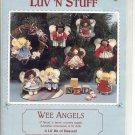 "VINTAGE WEE ANGELS SEWING CRAFT PATTERN BY LUV 'N STUFF 4"" WOOD N FABRIC COUNTRY ANGELS 1987 MINT"