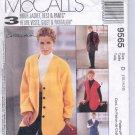 McCALL'S WOMAN'S DAY COLLECTION #9565 MISSES JACKET VEST PANTS SIZE D 12-16 UNCUT OOP 1998 VG
