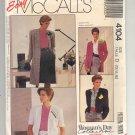 McCALL'S EASY #4104 MISSES COAT & JACKET SIZE D 12-16 UNCUT OOP 1989 VG TO NM