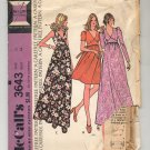 McCALL'S PATTERN #3643 MISSES & JUNIOR PETITE DRESSES SIZE 12 CUT OOP 1973 VINTAGE