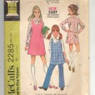 McCALL'S PATTERN #2285 GIRLS DRESS BLOUSE PANTS JUMPER SIZE 6 CUT 1970 VINTAGE VG