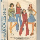 McCALL'S PATTERN #5142 GIRLS SHIRT JACKET PANTS SKIRT FOR KNITS ONLY SIZE 8 CUT 1976 VINTAGE VG