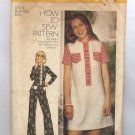 SIMPLICITY PATTERN #6499 MISS TEEN DRESS TOP PANTS SIZE 6 CUT 1974 VINTAGE