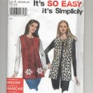 SIMPLICITY PATTERN # 9416 MISSES KNIT TOP AND VEST SIZE A XS - XL UNCUT 2000 OOP