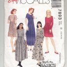 McCALL'S EASY PATTERN # 7893 MISSES DRESS TWO LENGTHS SIZE D 12-16 UNCUT 1995 OOP