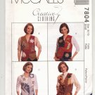 McCALL'S PATTERN # 7804 MISSES LINED VESTS & APPLIQUES SIZE 8-10 UNCUT 1995 OOP