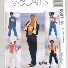 McCALL'S GYM PATTERN # 2807 MISSES KNIT JACKET TOP PANTS SIZE XSL-MED UNCUT 2000 OOP