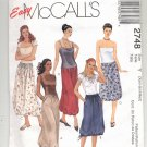McCALL'S PATTERN # 2748 MISSES SKIRT W/ GATHERED HEMLINE IN 2 LENGTHS SIZE XSM-MED UNCUT 2000 OOP