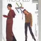 McCALL'S PATTERN # 2296 NY JUNIORS HOODED DRESS & TOP & PANTS SIZE JR 9-14 UNCUT 1999 OOP