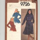 SIMPLICITY PATTERN # 9726 MISSES PULLOVER DRESS W/SASH SIZE 14 CUT 1980 VINTAGE