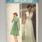SIMPLICITY PATTERN # 6672 MISSES DRESS IN TWO LENGTHS SIZE 8 CUT 1974 VINTAGE