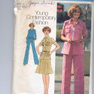 SIMPLICITY PATTERN # 6843 MISSES/JR PETITE SHIRT PANTS JACKET & SKIRT SIZE 10 CUT 1975 VINTAGE