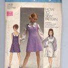 SIMPLICITY PATTERN # 8614 JR TEEN MISSES JUMPER DRESS OR TOP SIZE 5-6 CUT 1969 VINTAGE