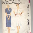 McCALL'S EVELYN DE JONGE PATTERN # 7003 MISSES DRESS SIZE 10 CUT 1980 VINTAGE OOP