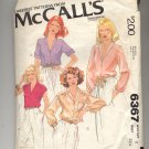 McCALL'S PATTERN # 6367 MISSES SET OF BLOUSES SIZE 8 CUT 1978 VINTAGE OOP
