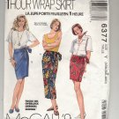 McCALL'S  PATTERN # 6377 MISSES 1 HR WRAP SKIRT 3 LENGTHS SIZE XSM-MED CUT 1993 OOP