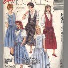 McCALL'S EASY PATTERN # 4350 MISSES JUMPER & PETTICOAT SIZE 8-12 CUT 1989 OOP