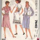 McCALL'S PATTERN # 7440 MISSES DRESS & VEST SIZE 10 BUST 32 1/2 CUT 1981 VINTAGE OOP