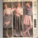 McCALL'S PATTERN # 8665 GIRLS POODLE SKIRT W/ DOG APPLIQUE SIZE 8 CUT 1983 OOP VINTAGE