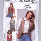 SIMPLICITY CHRISTIE BRINKLEY PATTERN # 9373 MISSES VESTS SIZE 6-12 CUT 1989 OOP