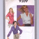 SIMPLICITY PATTERN # 9559 MISSES FITTED V-NECK BLOUSE SIZE 10 CUT 1980 OOP~VINTAGE