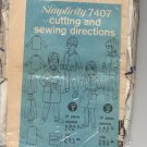 SIMPLICITY PATTERN # 7407 CHILDS PAJAMAS AND ROBE SIZE 1-6 CUT 1967 OOP VINTAGE